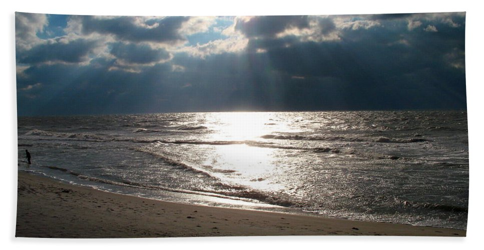 Storm Hand Towel featuring the photograph A Storm Is Brewing Over The Gulf Coast by Christiane Schulze Art And Photography