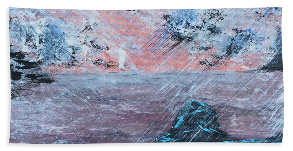 Sunrise Bath Sheet featuring the painting Stormy Weather by Alys Caviness-Gober