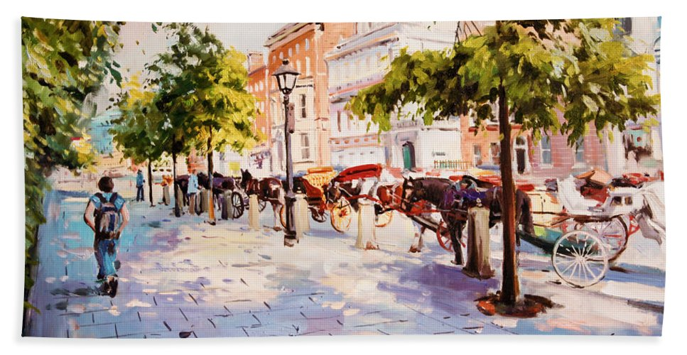 Stephens Green Dublin Hand Towel featuring the painting A Stroll On Stephens Green by Conor McGuire