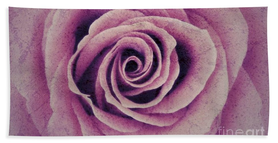 Pink Rose Hand Towel featuring the photograph A Sugared Rose by Joan-Violet Stretch