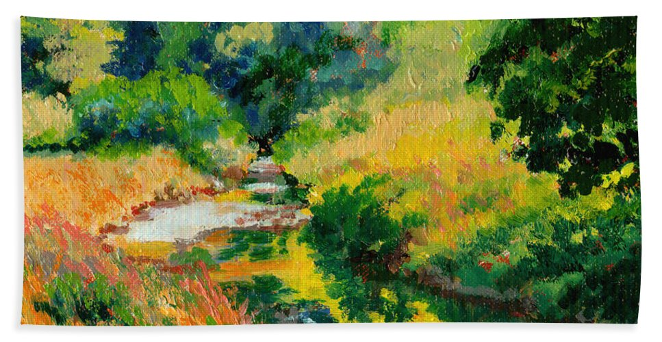 Impressionism Bath Sheet featuring the painting A Summer Brook by Keith Burgess