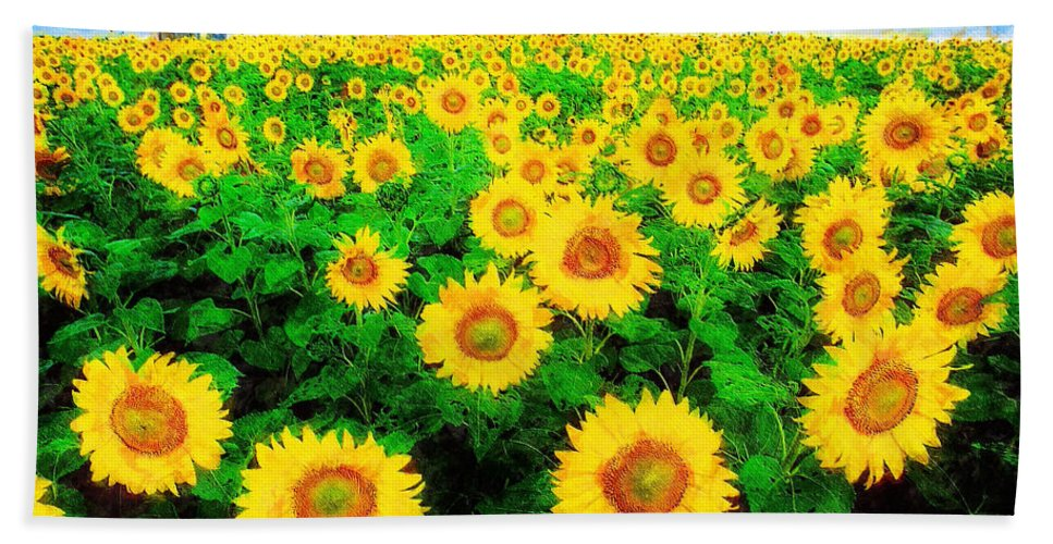 Sunflower Hand Towel featuring the painting A Sunny Day with Vincent by Sandy MacGowan
