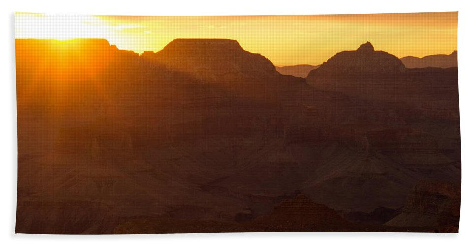 Grand Canyon Hand Towel featuring the photograph A Sunrise To Make One Silent by Kathleen Odenthal