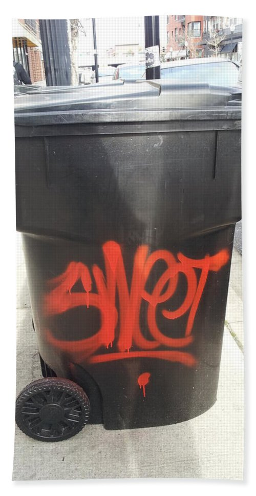 Street Art Bath Sheet featuring the photograph A Sweet Garbage Can. by Zac AlleyWalker Lowing