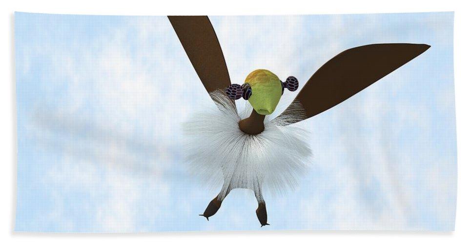 Imaginaryh Animal Hand Towel featuring the digital art A Tackiebird Closeup by Charles McChesney