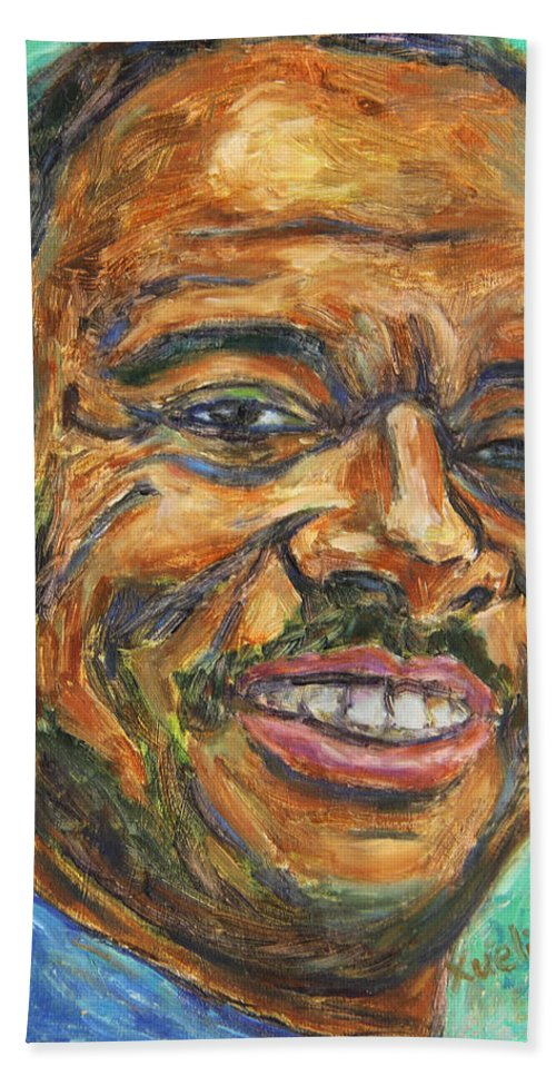 African American Bath Sheet featuring the painting A Teacher from Atlanta GA by Xueling Zou