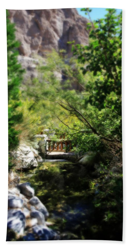 Whitewater Preserve Hand Towel featuring the photograph A Teeny Tiny Bridge by Laurie Search
