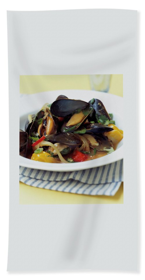 Cooking Hand Towel featuring the photograph A Thai Dish Of Mussels And Papaya by Romulo Yanes