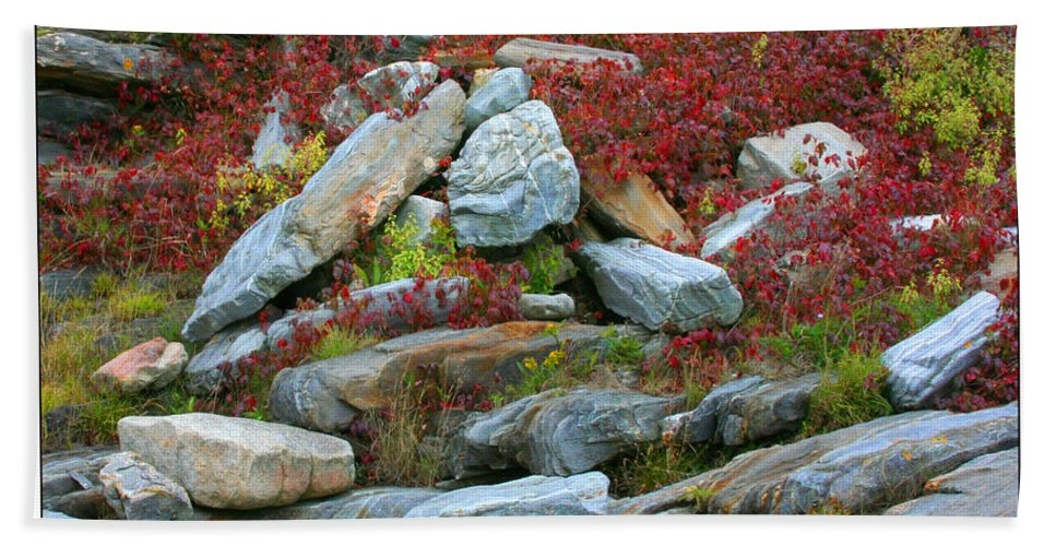 Rocks Bath Sheet featuring the photograph A Touch Of Color by Mariarosa Rockefeller