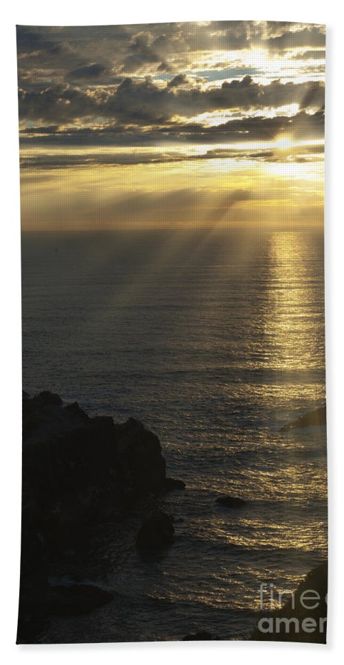 Sunset Bath Sheet featuring the photograph A Touch Of Heaven by Sandra Bronstein