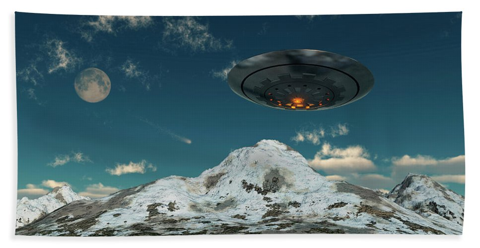 Horizontal Bath Towel featuring the photograph A Ufo Flying Over A Mountain Range by Mark Stevenson