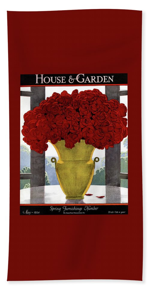 House And Garden Bath Towel featuring the photograph A Vase With Red Roses by Andre E Marty