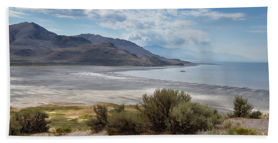 Antelope Island Hand Towel featuring the photograph A View From Buffalo Point Of White Rock Bay by Donna Greene