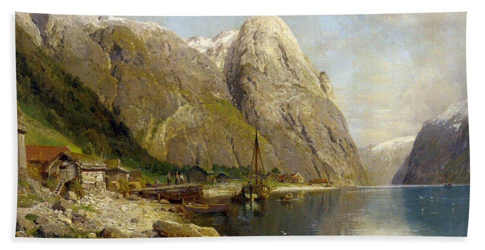 A Village By A Fjord Hand Towel featuring the digital art A Village By A Fjord by Askevold Andres Monsen