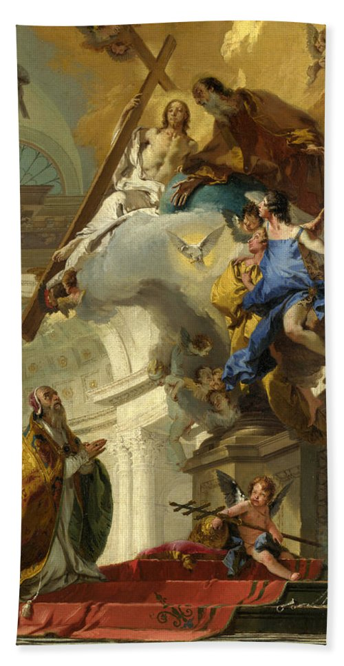 Giovanni Battista Tiepolo Hand Towel featuring the painting A Vision Of The Trinity by Giovanni Battista Tiepolo
