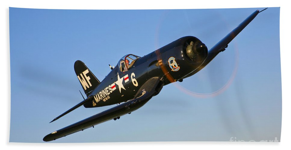 Horizontal Bath Sheet featuring the photograph A Vought F4u-5n Corsair Aircraft by Scott Germain