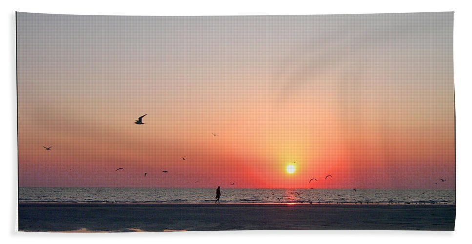 Sunset Bath Sheet featuring the photograph A Walk At Sunset by Mariarosa Rockefeller
