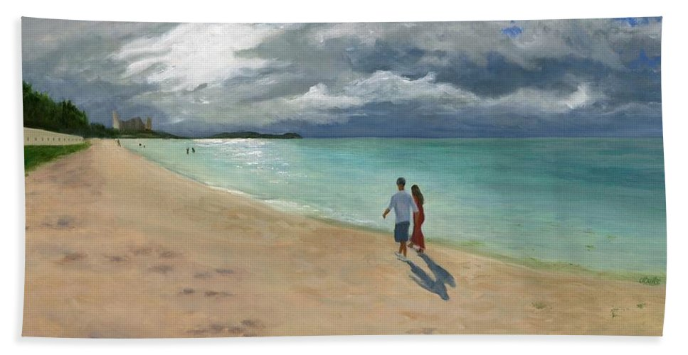 Tumon Bay Hand Towel featuring the painting A Walk At Tumon Bay Guam by Deborah Butts