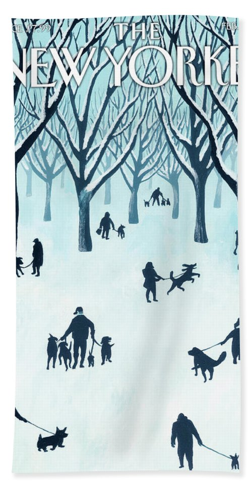 Snow Bath Sheet featuring the painting A Walk In The Snow by Mark Ulriksen