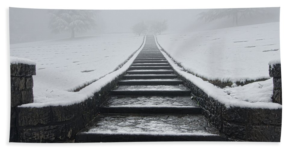 Beauty Bath Sheet featuring the photograph A Walk Into The Fog by Don Schwartz