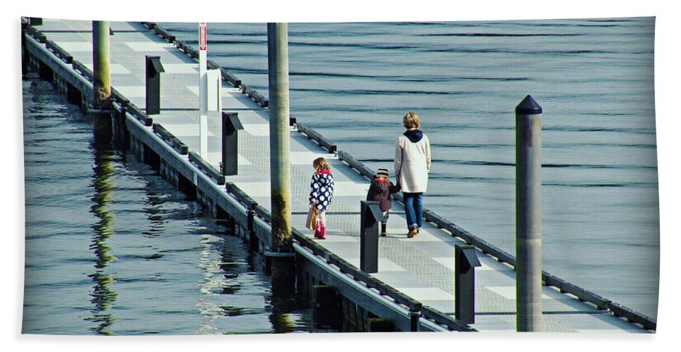 Family Hand Towel featuring the photograph A Walk On The Pier by Micki Findlay