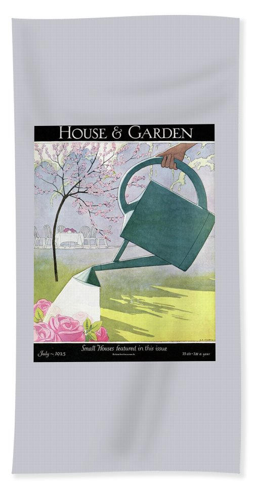 House And Garden Bath Towel featuring the photograph A Watering Can Above Pink Roses by Andre E Marty