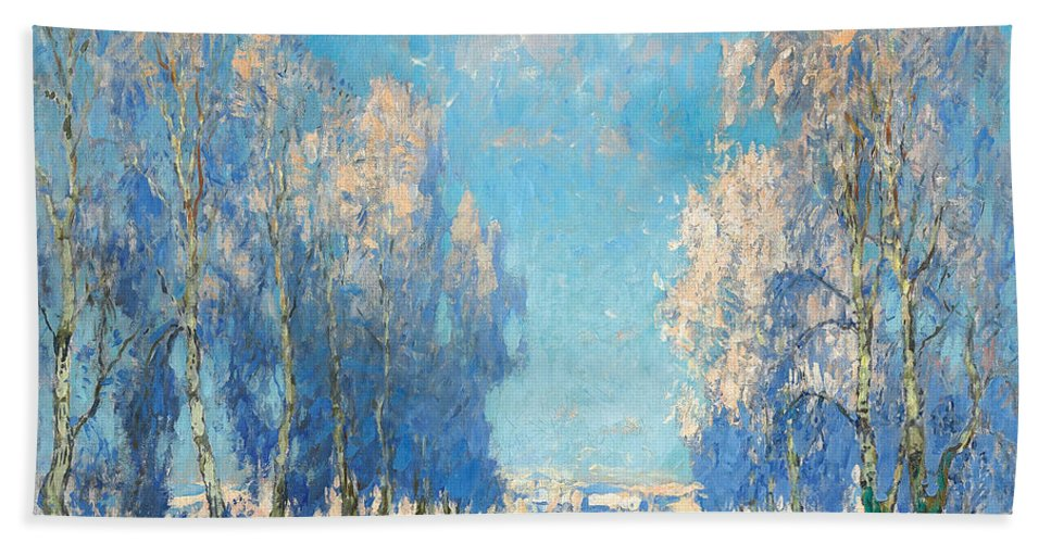 Winter Hand Towel featuring the painting A Winter's Day by Konstantin Ivanovich Gorbatov