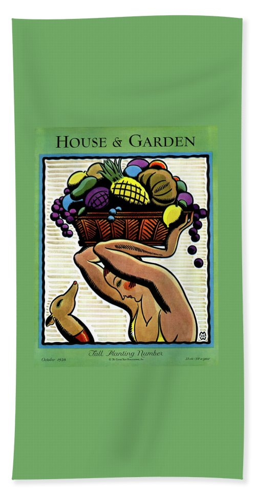 House And Garden Bath Towel featuring the photograph A Woman Holding A Basket Of Fruit by Marion Wildman