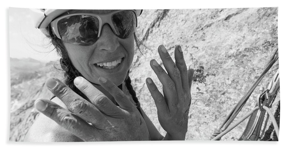 West Twin Peak Hand Towel featuring the photograph A Woman Rock Climber In Titcomb Basin by Kennan Harvey