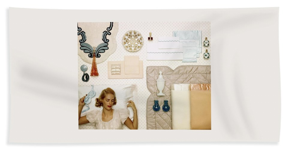 Bedroom Bath Towel featuring the photograph A Woman Sleeping Next To An Assorted Range by Geoffrey Baker