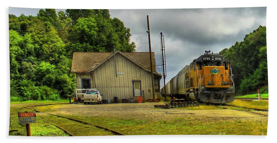 Reid Callaway Train And Track Hand Towel featuring the photograph A Workhorse At The Madison Station by Reid Callaway