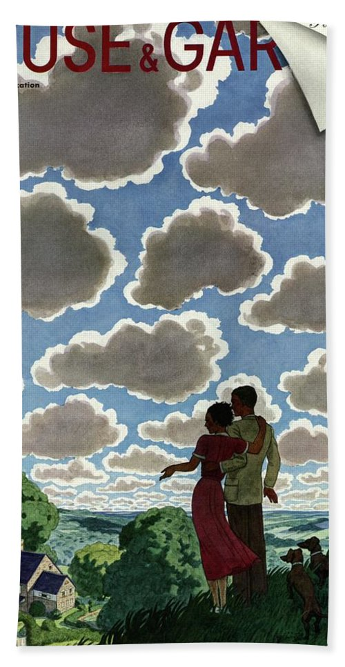 House And Garden Bath Towel featuring the photograph A Young Couple And Their Dogs On A Hilltop by Pierre Brissaud
