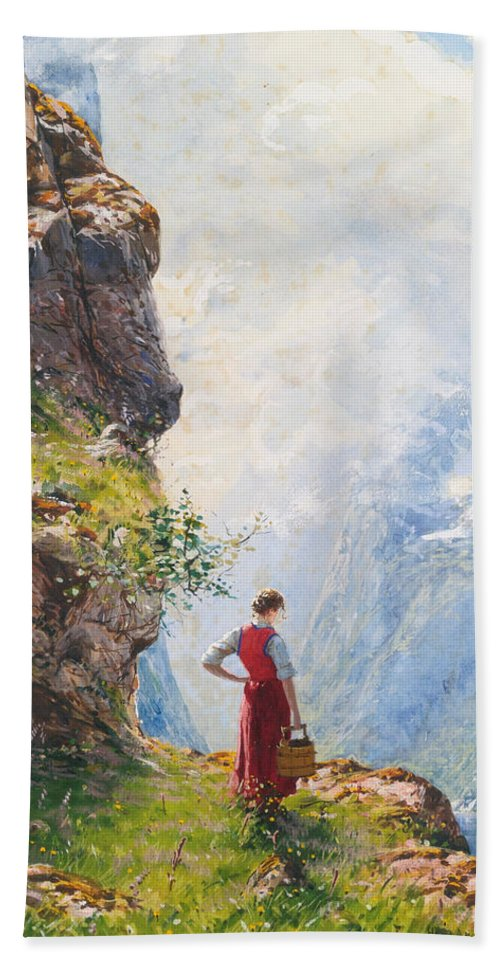 Hans Andreas Dahl Bath Sheet featuring the painting A Young Girl By A Fjord by Hans Andreas Dahl