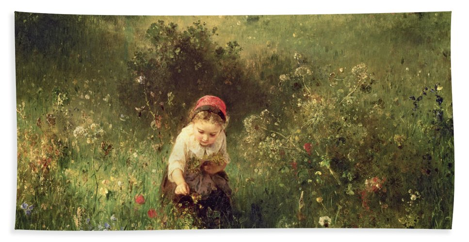 Wild Flowers; Solitude Bath Sheet featuring the painting A Young Girl In A Field by Ludwig Knaus