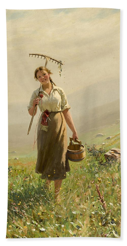 Hans Dahl Bath Sheet featuring the painting A Young Woman In The Meadow by Hans Dahl