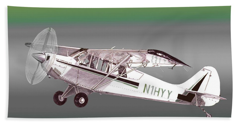 Aviation Art Of The A1a Husky By Jack Pumphrey Featuring A Braced High Wing Hand Towel featuring the painting A1a Husky Aviat Airplane by Jack Pumphrey