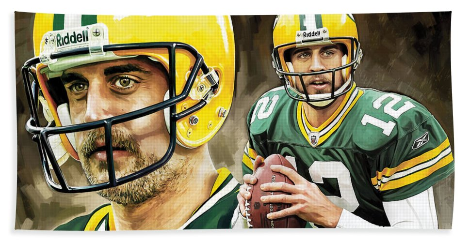 Nfl Bath Sheet featuring the painting Aaron Rodgers Green Bay Packers Quarterback Artwork by Sheraz A
