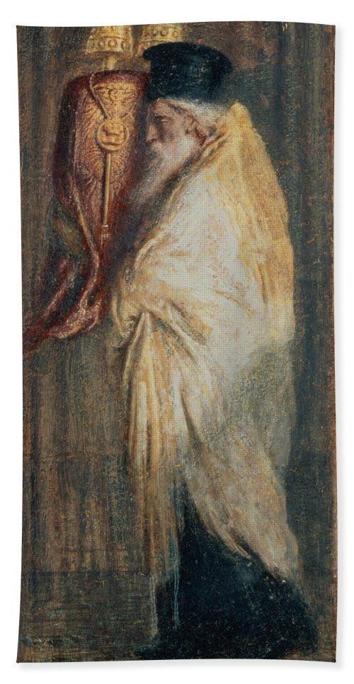 Old Bath Towel featuring the painting Aaron With The Scroll Of The Law, 1875 by Simeon Solomon