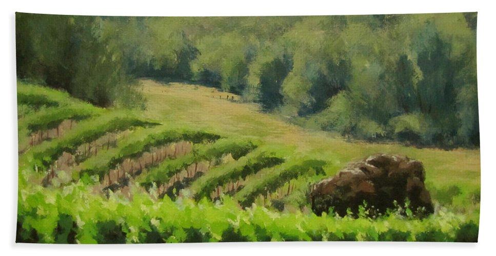 Winery Bath Sheet featuring the painting Abacela Vineyard by Karen Ilari