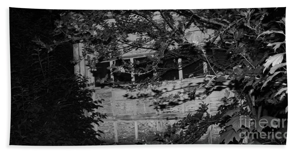 Abandoned And Forgotten Behind Trees Bath Sheet featuring the photograph Abandoned And Forgotten Behind Trees by John Telfer