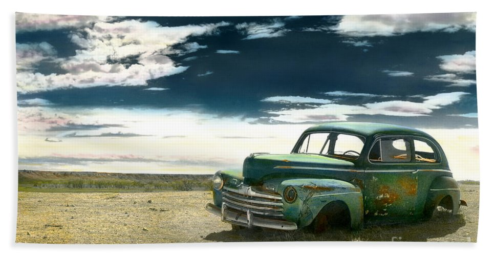 Car Bath Sheet featuring the photograph Abandoned Car by Jill Battaglia