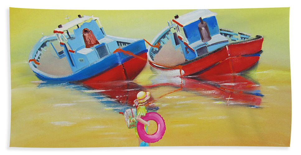 Red Fishing Boats Hand Towel featuring the painting Abandoned Fishing Boats Tavira by Charles Stuart