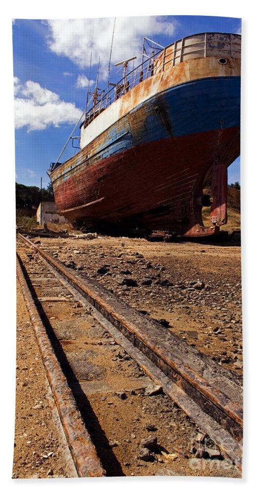 Shipyard Bath Sheet featuring the photograph Abandoned Fishing Ship by Jose Elias - Sofia Pereira