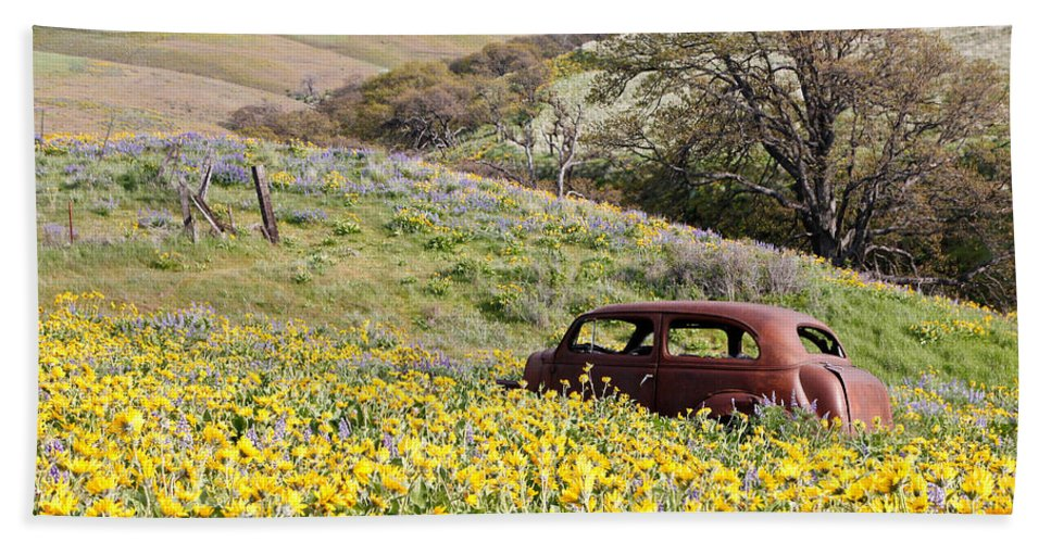 Vehicle Hand Towel featuring the photograph Abandoned Ford Buried In Wildflowers by Athena Mckinzie