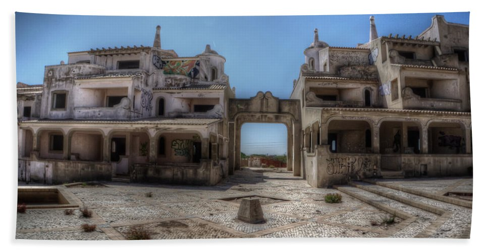 Urbex Bath Sheet featuring the digital art Abandoned Holidays by Nathan Wright