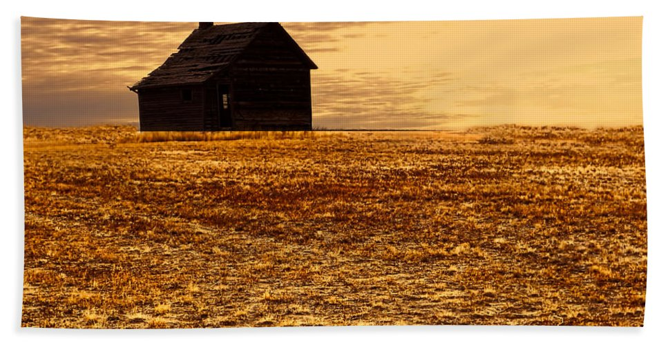 Homestead Hand Towel featuring the photograph Abandoned Homestead Series Golden Sunset by Cathy Anderson