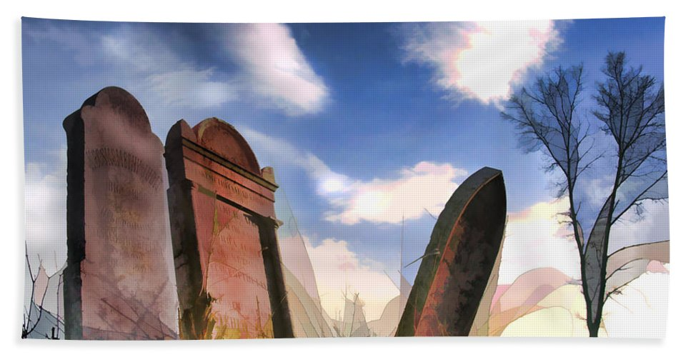 Tombstones Grave Graves Headstones Prairie Plains Western Lonely Abandoned Tree Sky Hand Towel featuring the painting Abandoned Tombstones On The Prairie by Elaine Plesser