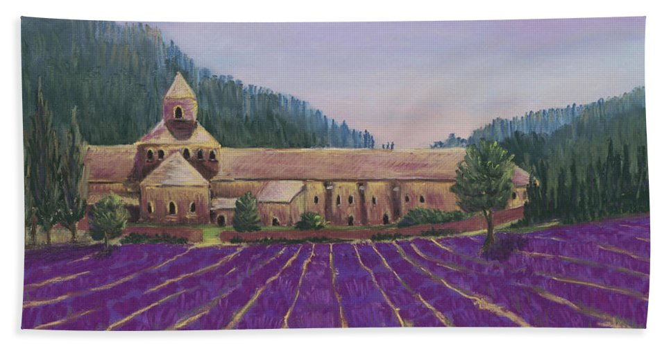 Malakhova Hand Towel featuring the painting Abbaye Notre-dame De Senanque by Anastasiya Malakhova