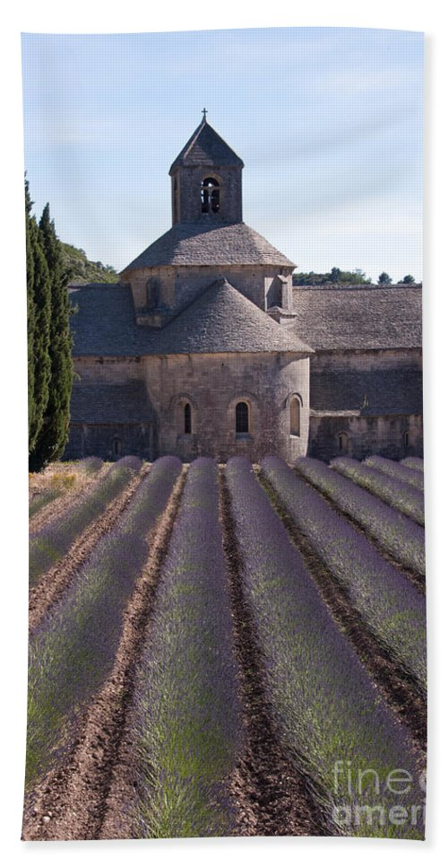 Sénanque Abbey Valcluse Provence France Cistercian Abbeys Lavender Field Fields Tree Trees Bloom Blooms Blossom Blossoms Flower Flowers Plant Plants Building Buildings Places Place Of Worship Valcluse Provence Landscape Landscapes Architecture Nature Bath Sheet featuring the photograph Abbey Lavender by Bob Phillips