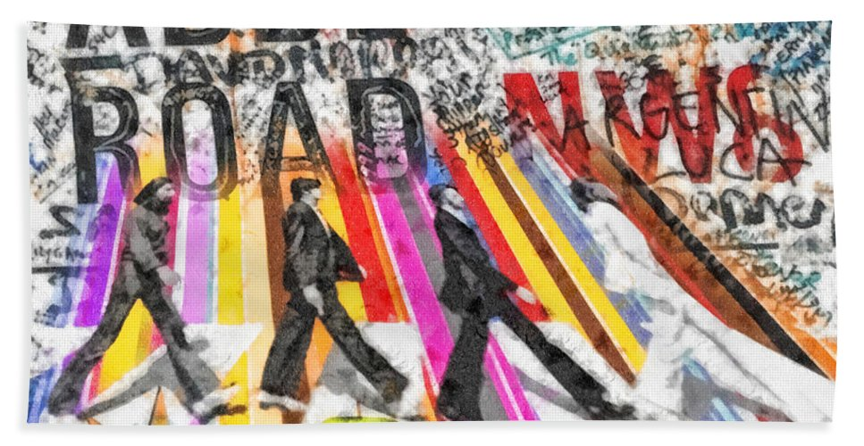 Abbey Road Bath Towel featuring the mixed media Abbey Road by Mo T